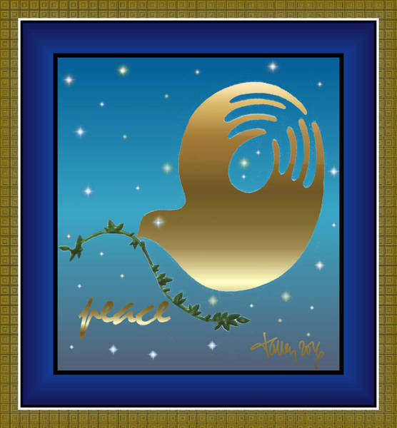 Digital Art - Gold Peace Dove by Larry Talley