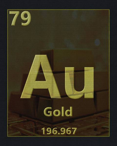 Silver And Gold Digital Art - Gold Periodic Table by Dan Sproul