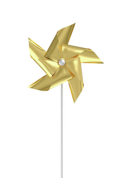 Rotating Digital Art - Gold Pinwheel by Allan Swart