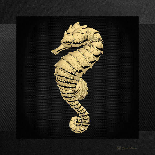 Digital Art - Gold Seahorse On Black Canvas by Serge Averbukh