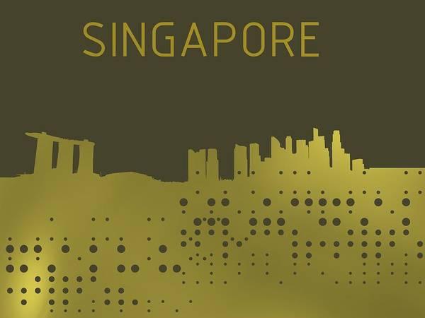 Digital Art - Gold Singapore Skyline by Alberto RuiZ