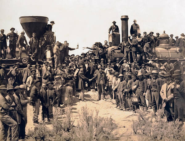 Promontory Point Photograph - Gold Spike Railroad Opens The West 1869 by Daniel Hagerman