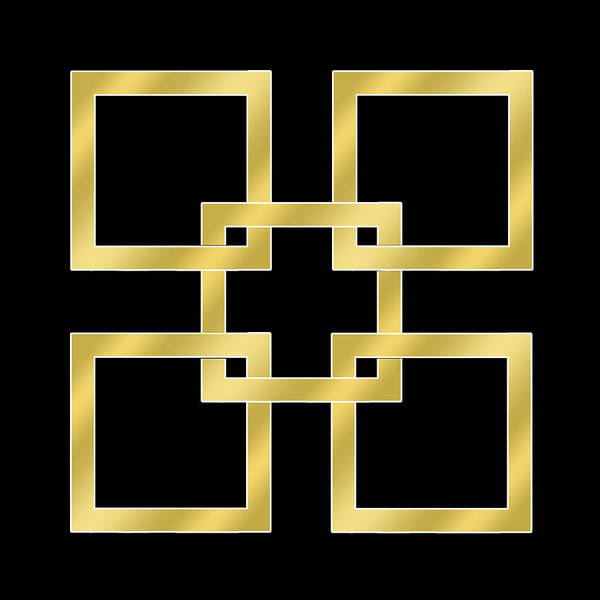 Digital Art - Gold Squares On Black by Chuck Staley