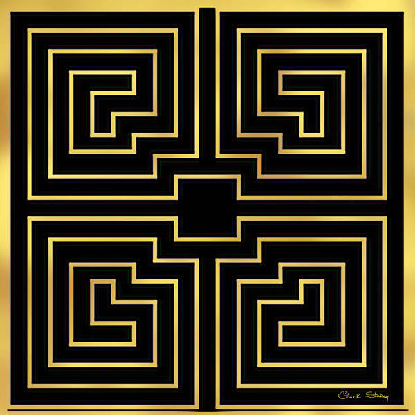 Digital Art - Gold Stripes On Black by Chuck Staley