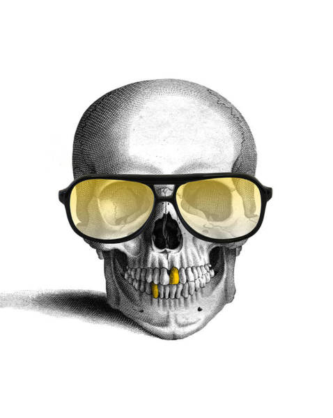 Skulls Wall Art - Digital Art - Skull With Gold Teeth And Sunglasses by Madame Memento