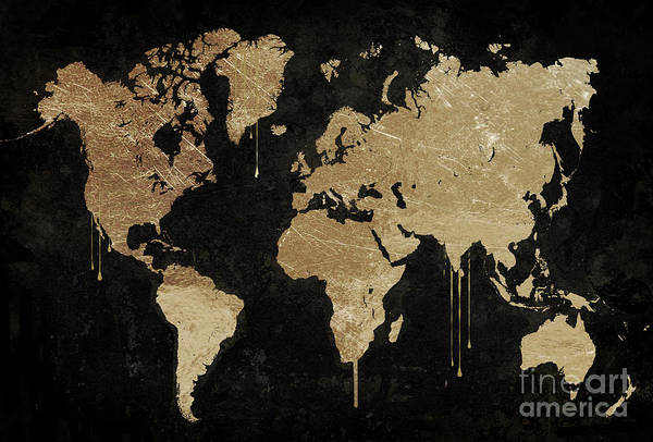 Wall Art - Painting - Gold World Map by Mindy Sommers