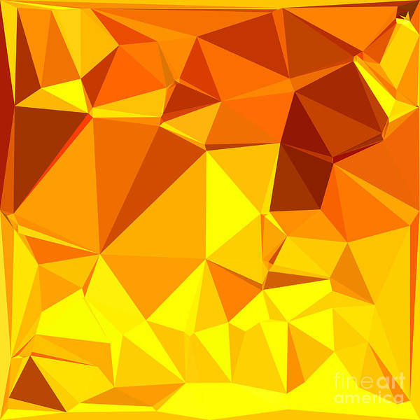 Wall Art - Digital Art - Gold Yellow Banana Abstract Low Polygon Background by Aloysius Patrimonio