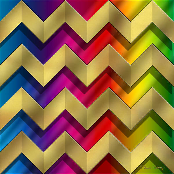 Digital Art - Gold Zig-zag - Chuck Staley by Chuck Staley