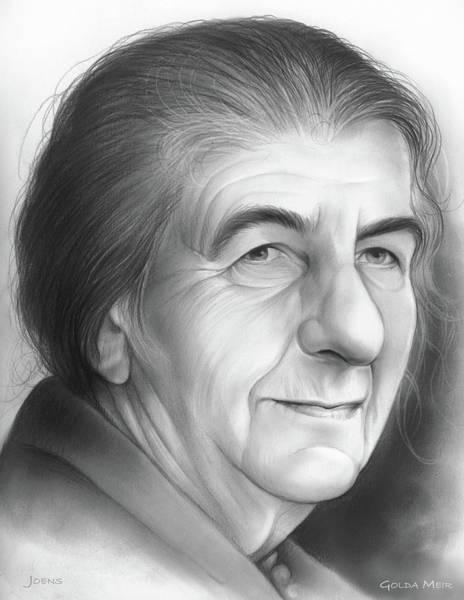 Politics Drawing - Golda Meir by Greg Joens