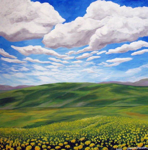 Dandilions Painting - Golden Afternoon by Sharon Marcella Marston