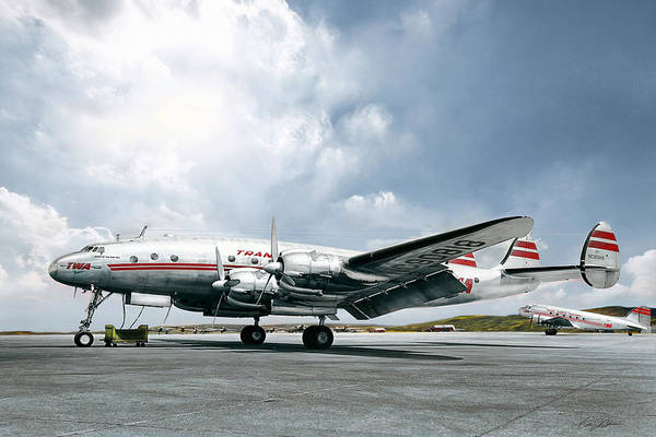 Wall Art - Digital Art - Golden Age Aviation - Lockheed Constellation by Peter Chilelli