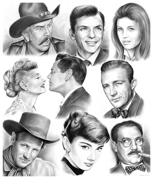 Wall Art - Drawing - Golden Age Montage by Greg Joens