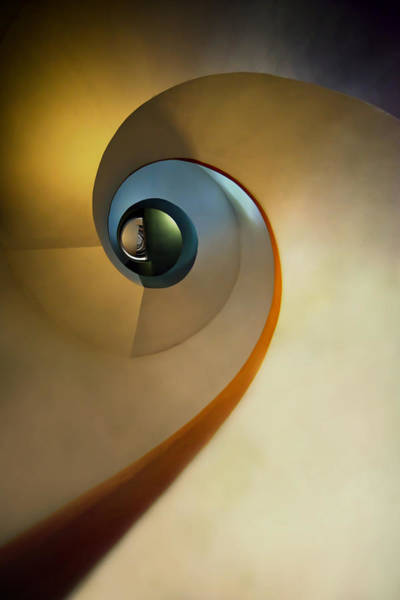 Photograph - Golden And Brown Spiral Staircase by Jaroslaw Blaminsky