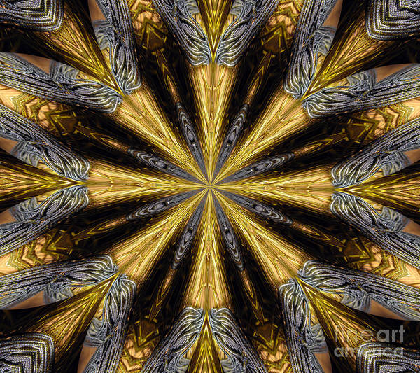 Mixed Media - Golden And Silvery Metallic Filaments Mandala Abstract 1 by Rose Santuci-Sofranko