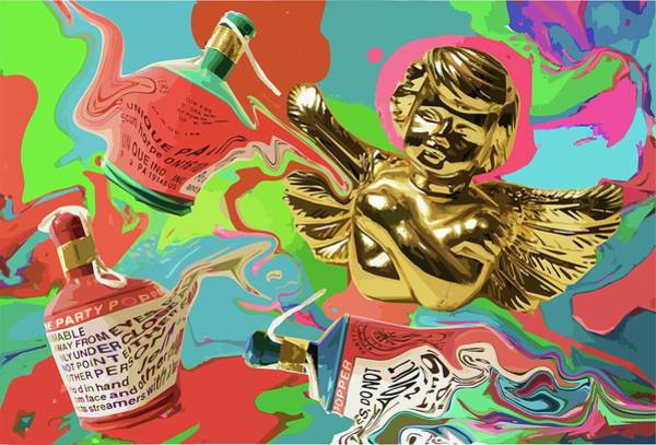 Digital Art - Golden Angel With Party Poppers by Stephen Dorsett