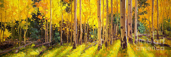 Wall Art - Painting - Golden Aspen In The Light by Gary Kim