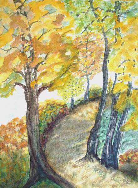 Painting - Golden Autumn Landscape by Joy of Life Art Gallery