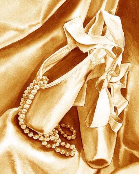 Wall Art - Painting - Golden Ballet Slippers by Irina Sztukowski