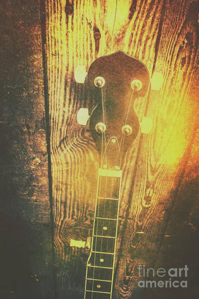 Country Music Photograph - Golden Banjo Neck In Retro Folk Style by Jorgo Photography - Wall Art Gallery