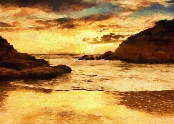 Digital Art - Golden Beach by Charmaine Zoe