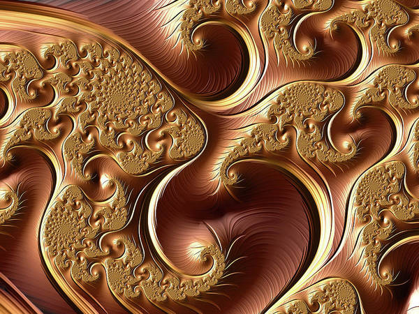 Digital Art - Golden Bliss Abstract by Isabella Howard