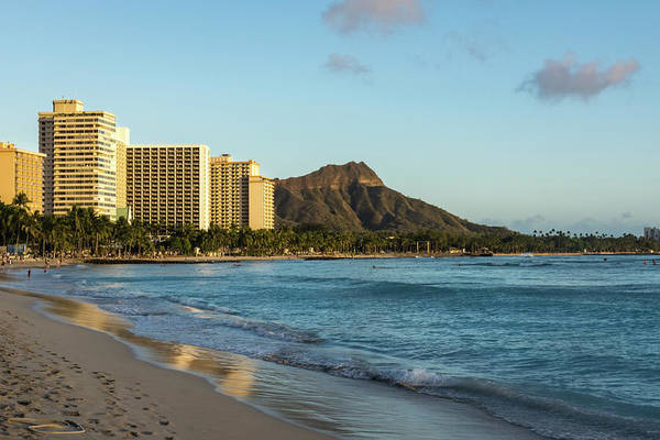 Photograph - Golden Bliss On The Beach - Waikiki And Diamond Head Volcano by Georgia Mizuleva
