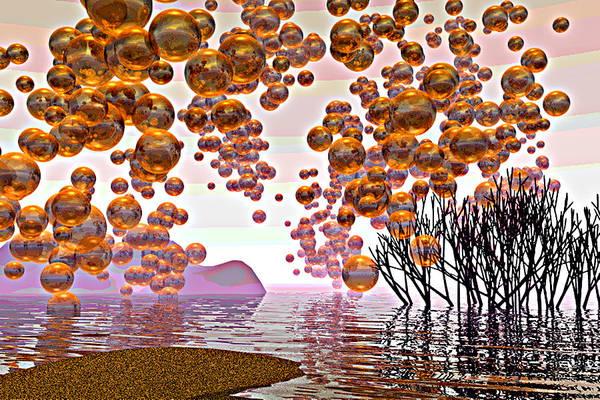 Mangroves Digital Art - Golden Bubbles by Alexandra Cook