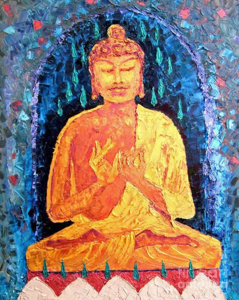 Chinese Buddha Painting - Golden Buddha by Doris Blessington