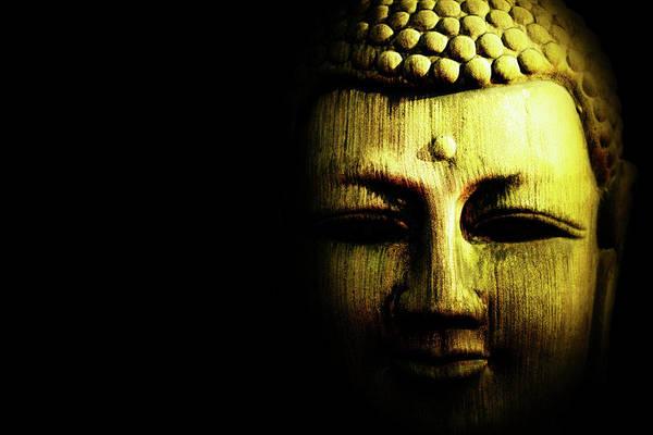 Wall Art - Photograph - Golden Buddha On Black by Skip Nall