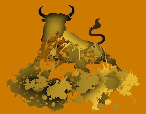 Digital Art - Golden Bull by Alberto RuiZ