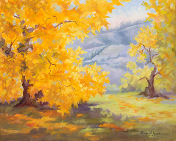 Sycamore Painting - Golden California Sycamores by Karin Leonard