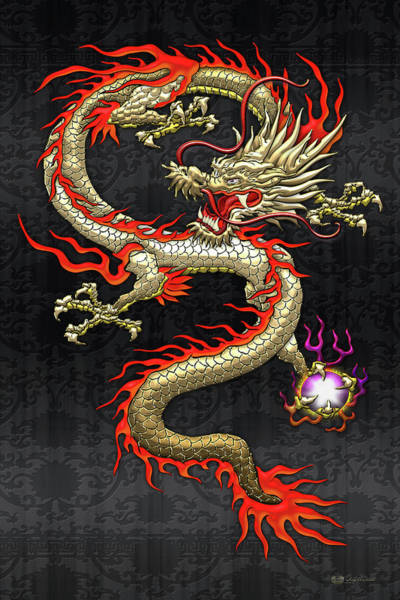 Digital Art - Golden Chinese Dragon Fucanglong On Black Silk by Serge Averbukh