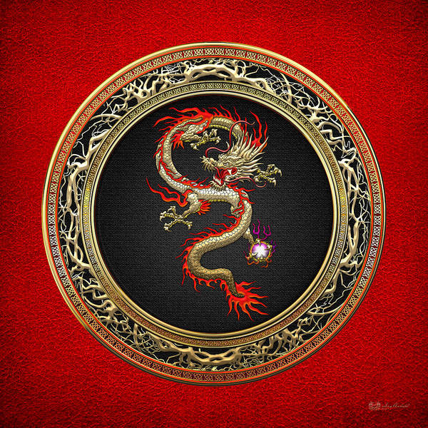 Fantasy Wall Art - Photograph - Golden Chinese Dragon Fucanglong On Red Leather  by Serge Averbukh