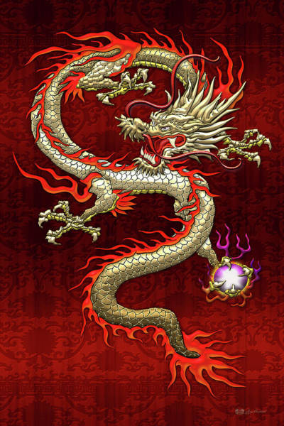 Digital Art - Golden Chinese Dragon Fucanglong On Red Silk by Serge Averbukh