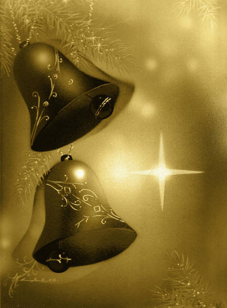 Painting - Golden Christmas Bells by Laura Greco