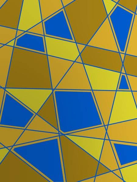 Digital Art - Golden Composition With Blue by Alberto RuiZ