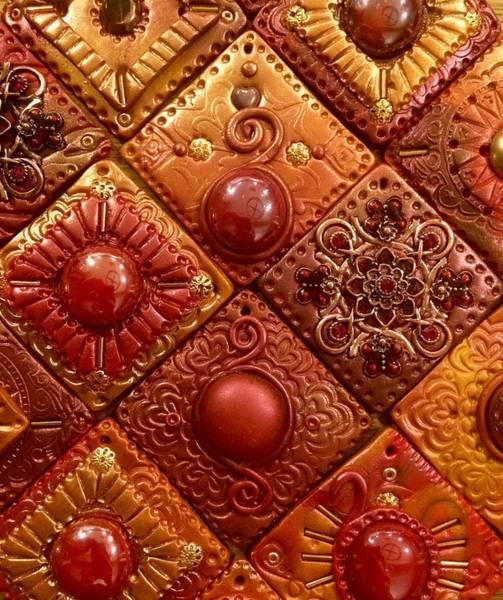 Polymer Clay Photograph - Golden Crimson Mosaic Tiles by Teresa Stepp