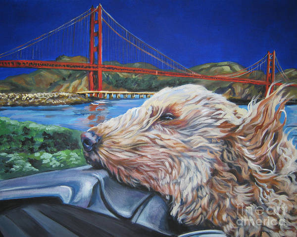 Doodle Painting - Golden Doodle Cruising San Fransisco by Lee Ann Shepard