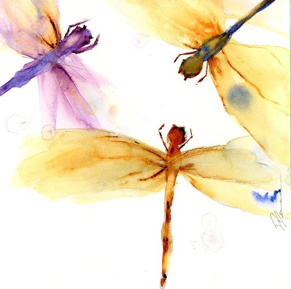 Painting - Golden Dragonflies by Dawn Derman