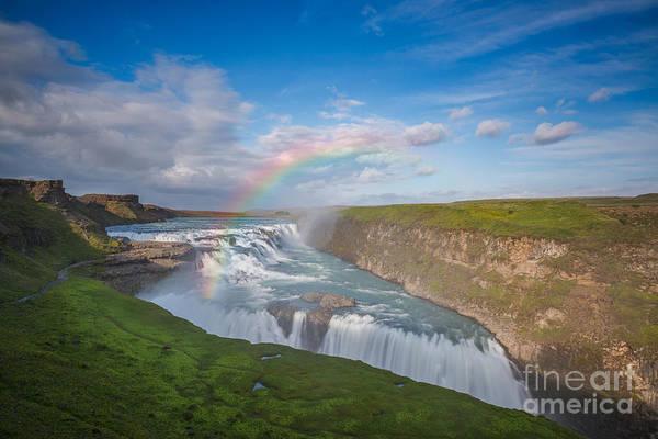 Crevice Photograph - Golden Falls, Gullfoss Iceland by Michael Ver Sprill