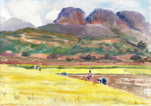 Painting - Golden Fields And The Mountains by Asha Sudhaker Shenoy