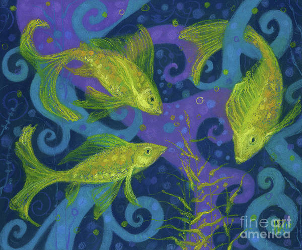Painting - Golden Fish, Pastel Painting, Blue Purple Yellow by Julia Khoroshikh