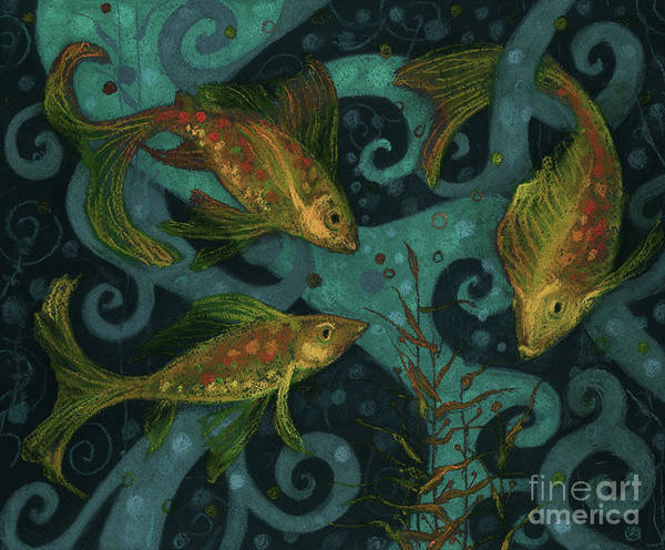Mixed Media - Golden Fishes, Underwater Creatures, Black, Teal And Yellow by Julia Khoroshikh