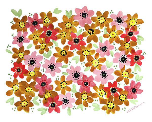 Floral Shower Curtain Painting - Golden Fleurs by Roleen Senic