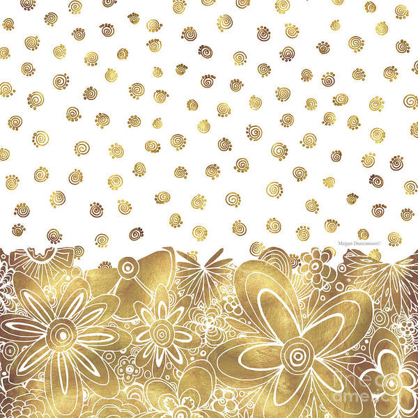 Gold Mixed Media - Golden Floral Curly Cue Pattern Chic And Contemporary Trendy Art By Megan Duncanson by Megan Duncanson