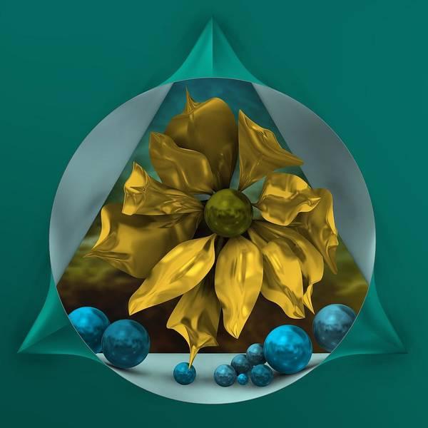 Digital Art - Golden Flower In Magical Window by Alberto RuiZ