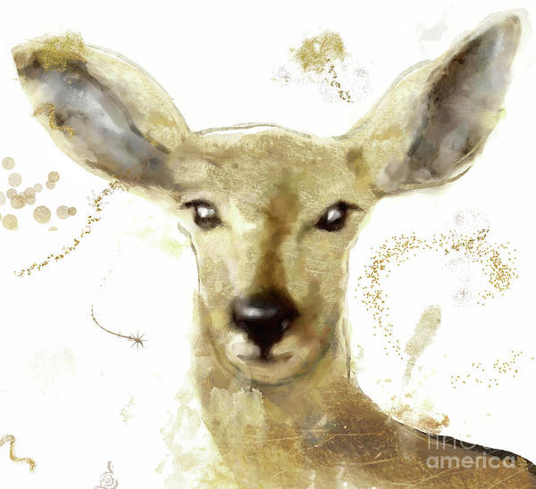 Wall Art - Painting - Golden Forest Deer by Mindy Sommers