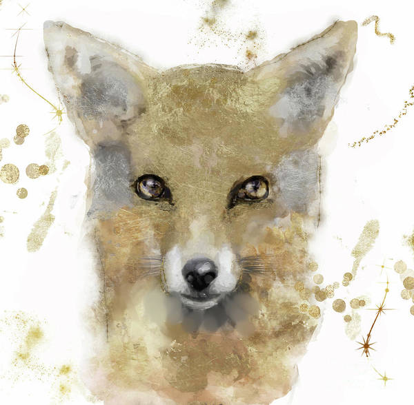 Wall Art - Painting - Golden Forest Fox by Mindy Sommers