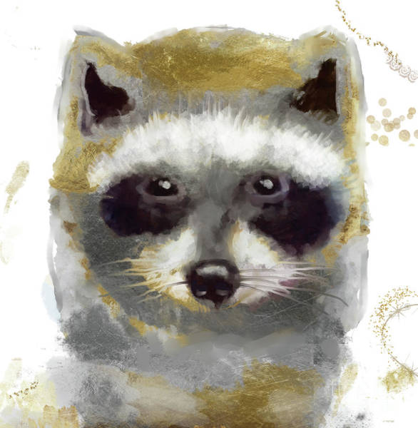 Wall Art - Painting - Golden Forest Raccoon  by Mindy Sommers