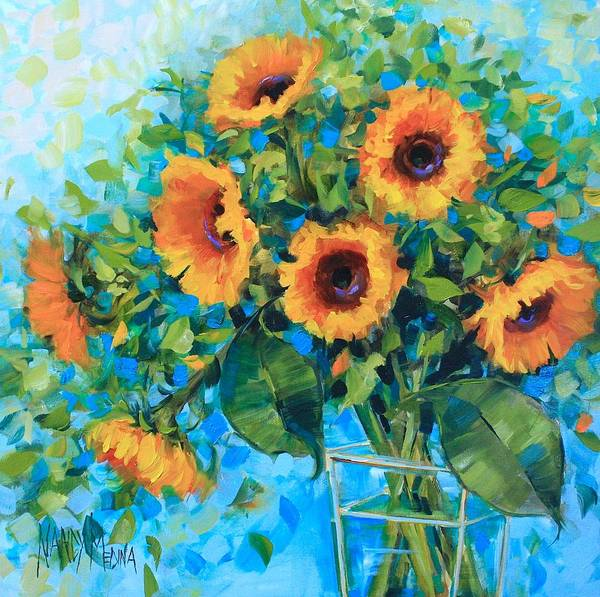 Medina Wall Art - Painting - Golden Garden Sunflowers by Nancy Medina